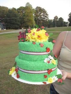 its a ladybug towel cake