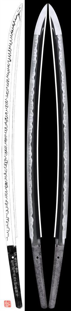 Katana: Utsusu Kiyomaro Higo Koku Akamatsu Taro Kanetsugu Saku/Heisei 7nenn 6gatsu hi | Japanese Sword Shop Aoi-Art. Japanese Blades, Japanese Sword, Samurai Swords Katana, Samurai Warrior, The Razors Edge, The Last Samurai, Martial Arts Weapons, Steel Art, Medieval Armor