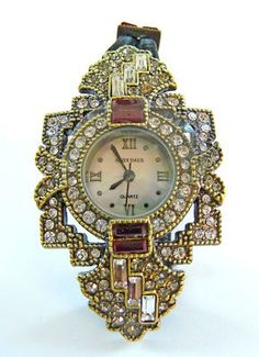 Sell one like this  Heidi Daus Art Deco Framed Double Cord Watch- Siam-Red
