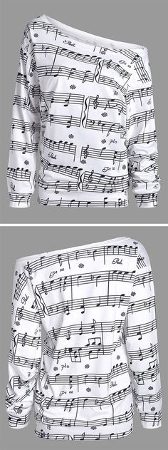 winter outfits:Musical Notes Print Long Sleeve Sweatshirt