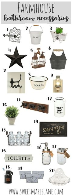 Bathroom Accessories The ultimate list of farmhouse bathroom accessories to add a touch of rustic farmhouse style to any bathroom!The ultimate list of farmhouse bathroom accessories to add a touch of rustic farmhouse style to any bathroom!