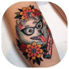 This little pup failed her eye exam. Thanks for letting me do such a fun tattoo Keiko! And for sitting so well