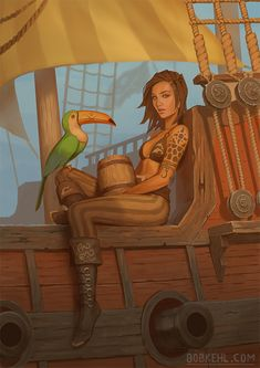 Tagged with art, awesome, painting, fantasy, pirate; Shared by Bobkehl. Sunset in Buccaneers Bay Fantasy Character Design, Character Drawing, Character Design Inspiration, Character Concept, Concept Art, Dnd Characters, Fantasy Characters, Arte Steampunk, Pirate Art