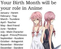 Teacher May - Best Friend June - Yandere July - Main Character August - Prince/Princess September - Kuudere October - Antagonist November - Monster December - Dandere Birthday Scenario Game, Birthday Games, Horoscope Animé, Horoscopes, Dandere Anime, Kuudere, Haruhi Suzumiya, Kaichou Wa Maid Sama, Birth Month