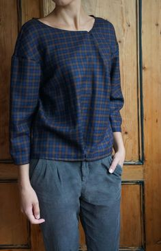 Tops & Blouses – Sweatshirt in check print, asymetric look! – a unique product by BaBu-new-and-upcycled on DaWanda