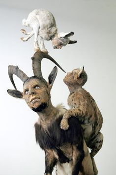 Taxidermist changed heads with these animals and MAN! Did he use a real persons head???? AWWWW.........NAW!!!