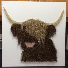 String art Highland cow. Is 60x60cm.