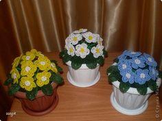Поделка, изделие Бисероплетение: три цветочка  Бисер. Фото 2