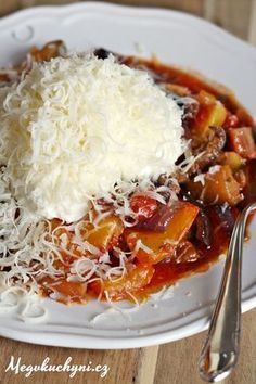 Pečená zelenina se zakysanou smetanou - Powered by Lunch Recipes, Meat Recipes, Chicken Recipes, Cooking Recipes, Vegetarian Stew, Vegetarian Recipes, Healthy Recipes, Good Food, Yummy Food