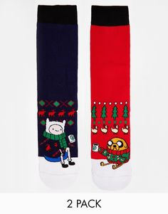 ASOS 2 Pack Socks With Christmas Adventure Time Design I NEED THESE!