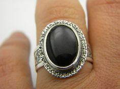 Black Onyx Ring Sterling silver Ring statement by nikiforosnelly, $55.00