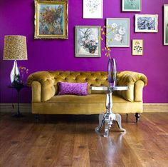 Purple and gold  eclectic living room