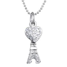 c105eaf4f Long Chain Necklace Women Jewelry Gifts Fashion Paris Eiffel Tower Necklace  Crystal Rhinestone Heart Pendant