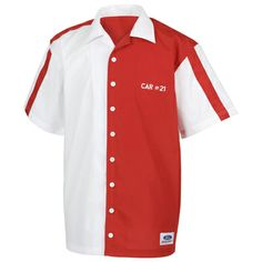 FORD Branded - Wood Bro    thers Vintage Pit Crew Shirt, Item #: 300823  Reproduction shirt takes you back in time with classic split-color front, chest pockets, and white button front. 65/35 poly/cotton blend. White/Red. Embroidered custom Car #21 art front and back; Ford Racing Oval bottom front hem. Pit Crew Shirts, Custom Cars, Cool T Shirts, Chef Jackets, Brother, Best Gifts, Ford, Gift Ideas, Mens Tops