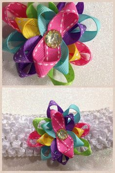 Flower Ribbon Rainbow HairbowYou Pick by HelloKourtneyBows on Etsy, $5.00