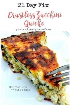 Crustless zucchini quiche is the perfect 21 Day Fix recipe for breakfast, brunch, lunch, or a light dinner! Fluffy eggs, 2 kinds of cheese, onion, and fresh gar