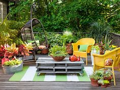 Megawatt Yellow Chairs in a Cozy Outdoor Setting
