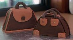 I seen a tutorial online for these, sorry can't give credit as i can't remember where i found it. They would be so cute on their own with some gumpaste make up and accessories added Handbag Cakes, Mini Handbags, Backpacks, How To Make, Accessories, Food, Fashion, Moda, Fashion Styles