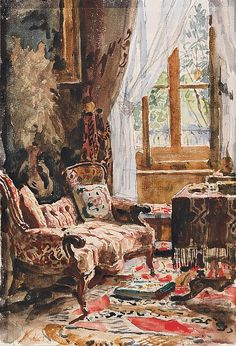 """""""Interior with sofa"""" (Date unknown), by Swiss artist - Albert Anker (1831-1910), Watercolor, Dimensions unknown, Location unknown."""