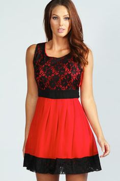 Laurie Lace Panel Chiffon Skater Dress