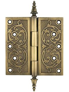 "Antique Brass Hinges. 6"" Decorative Victorian Door Hinge In Antique-By-Hand Finish"