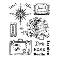 Tampon Dessin Vacance Voyage valise ticket paris berlin rome ville