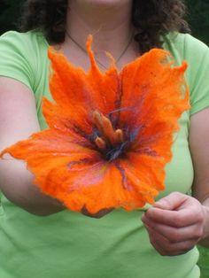 fleurs en feutrine, grande fleur diy
