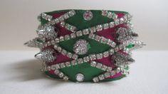 Cuff Bracelet Emerald Ruby Satin Fabric Harlequin Rhinestones Spikes