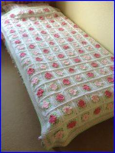 Crocheted Tea Rose Granny Square Bedspread Afghan Blanket