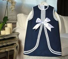 No instructions found but I love the multiple rows of rick rack Baby Girl Dress Patterns, Little Girl Dresses, Baby Dress Design, Frocks For Girls, Toddler Dress, Kids Outfits, Kids Fashion, Rick Rack, Navy