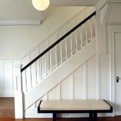 5 Astounding Cool Ideas: Wainscoting Beadboard Tile types of wainscoting interior design.Wainscoting Colors Board And Batten wainscoting entryway stairways. Home, Foyer Decorating, Staircase Design, Transitional Decor, Stairway Walls, House, Black Stair Railing, Modern Dining Room, Wainscoting Styles