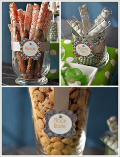 Lots of fun food items and ideas for a space-themed birthday party.