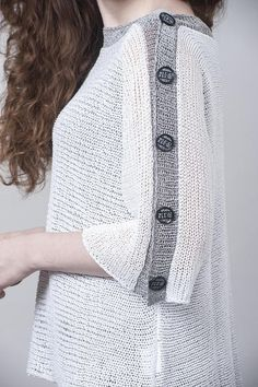 White & Grey Knit Sweater, Women Spring / Autumn Clothing, Fashion Summer Knit Top- Boho Style, Fits all seasons. Knitwear is not a seasonal item anymore. Boho Tops, Top Boho, Brunch Outfit, Summer Knitting, Easy Knitting, Knitting Stitches, Knitting Patterns, Estilo Boho, Loose Tops