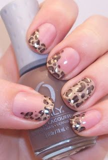 Polish Art Addiction: Leopard French Tips, id change the feature nail to a shiny black instead