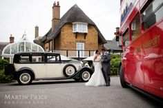Vintage Rolls Royce wedding car and Routemaster bus at an Oxfordshire wedding. www.martinpricephotography.co.uk