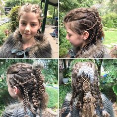 Viking hair design on my middle daughter