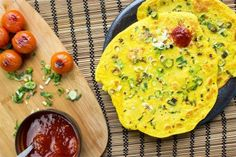 A fantastic savory pancake begging to be eaten with pickles and chutneys or yogurt and cream. East meets West with this beautifully, wonderfully healthy dish.