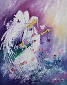 Adorable angel, flowers, hearts and butterflies painting.  Viola Sado
