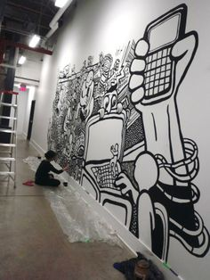 Black and White Art! Graffiti Mural in Tech-Company's Office Hallway Office Deco, Office Mural, Office Walls, Office Artwork, Graffiti Murals, Murals Street Art, Street Art Graffiti, Black White Art, Black And White Graffiti