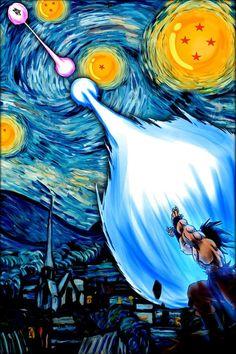 The Starry Night of Vincent van Gogh Dragon Ball Z Version - Image and Photo. Dragon Ball Gt, Manga Anime, Anime Art, Fan Art, Animes Wallpapers, Poster Prints, Poster Wall, Artwork, Van Gogh