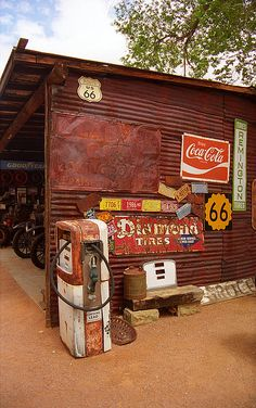 """Route 66 Garage And Pump, Hackberry, Illinois. """"The Fine Art Photography of Frank Romeo."""""""