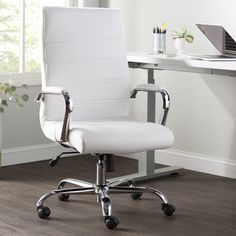 High Back Swivel with Wheels Ergonomic Executive Chair Upholstery Color/Frame Color: White/Chrome Office Decor, Home Office, Office Ideas, Office Furniture, Furniture Layout, High Back Office Chair, Floating Desk, Executive Office Chairs, L Shaped Desk