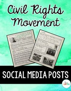 This activity allows students to choose from 20 different Civil Rights Movement leaders and heroes in order to create social media posts from their perspective. This is a FUN alternative to learning that is current and engaging. 5th Grade Social Studies, Social Studies Classroom, Social Studies Resources, Teaching Social Studies, Teaching History, Teaching Tips, Civil Rights Movement Leaders, Movement Activities, Music Activities