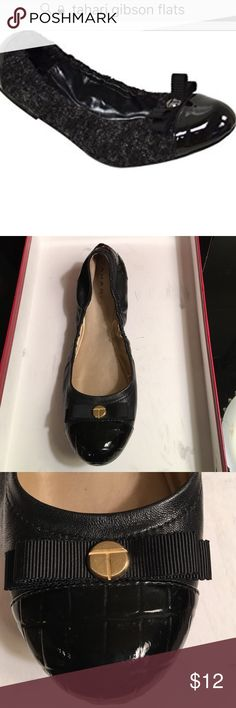 TAHARI BALLET FLATS GIBSON LEATHER SIZE 7 M PREOWNED WORK BUT STILL GOOD CONDITION TAHARI GIBSON LEATHER AND TEXTILE BALLET FLATS  WITH PATENT LEATHER TOE SIZE 7 M tahari Shoes Flats & Loafers