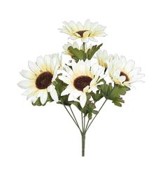 Blooming Autumn 15'' Sunflower Bush - Cream