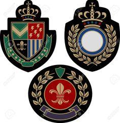Illustration of classical insigina emblem badge shield vector art, clipart and stock vectors. Badge Design, Icon Design, Typography Design, Logo Design, Shield Vector, Flat Sketches, Crest Logo, Coat Of Arms, Identity Design
