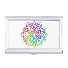 Rainbow ornament business card cases $24.25 *** Abstract colorful ornament - business card holder