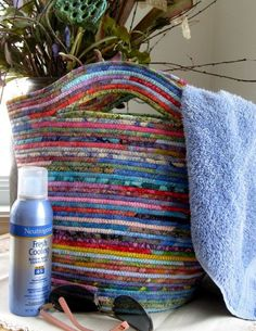 Repurposed tendedero en espiral tejido canasta bolso por SallyManke