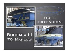 Boat hull extension, fiberglass manufacture and match the paint to the existing hull.