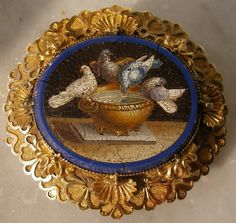 Micro-mosaic of the Doves of Pliny Agate, 15 k gold, Date and Origin: circa 1830, Italy, mounted in England in 1834.